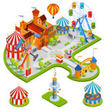 Amusement Park Isometric Composition Stock Image