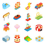 Amusement park isometric 3d icons Stock Photography