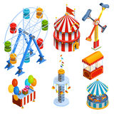 Amusement Park Isometric Decorative Icons Stock Photo