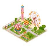Amusement Park Isometric Design Concept Stock Images