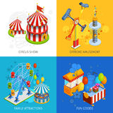 Amusement Park 2x2 Isometric Design Concept. Set of circus show extreme amusement family attractions and fun goods compositions vector illustration Royalty Free Stock Images