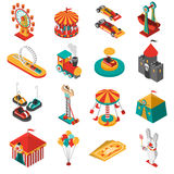 Amusement Park Isometric Icons Collection Stock Photo