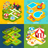 Amusement Park Isometric 4 Icons Square Stock Image