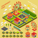 Amusement Park Isometric Map Creator Composition. Amusement park attractions elements map creator isometric symbols for fairground composition banner abstract Stock Images