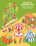 Amusement Park Isometric Poster. With carousel ferris wheel shooting range clowns meeting visitors 3d vector illustration stock illustration