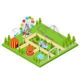 Amusement Park Isometric View. Vector. Amusement Park Isometric View Design Element for Urban Landscape Leisure and Recreation for Family. Vector illustration Stock Photos