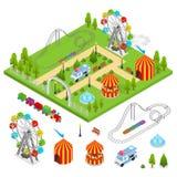 Amusement Park Isometric View. Vector. Amusement Park and Part Set Isometric View Design Element for Urban Landscape Leisure and Recreation for Family. Vector Stock Photo