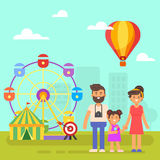Amusement park for kids. Happy family on a  weekend. Vector flat style illustration of amusement park for kids. Happy family on a  weekend Royalty Free Stock Image