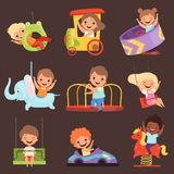 Amusement park kids. Playing happy and funny childrens boys and girls in attractions ride friends vector cartoon people royalty free illustration