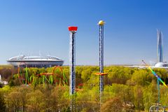 Free Amusement Park, Lakhta Center, Zenit Arena In SPb Stock Photo - 116408470