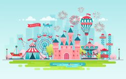 Amusement park landscape banner vector illustration