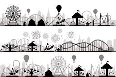 Amusement park landscape. Carnival roller coasters silhouettes, festive carousel and ferris wheel parks vector royalty free stock images