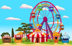 Amusement park, a landscape with a circus, carousels, carnival, attraction and entertainment, ice cream stall, drinks. Amusement park, a landscape with a circus royalty free illustration