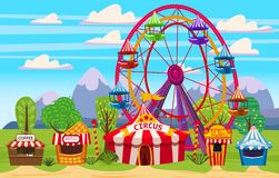 Amusement park, a landscape with a circus, carousels, carnival, attraction and entertainment, ice cream stall, drinks. Amusement park, a landscape with a circus stock illustration