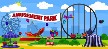 Amusement park landscape Royalty Free Stock Image