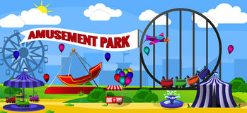 Amusement park landscape Stock Images