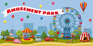 Amusement park landscape concept, cartoon style. Amusement park landscape concept. Cartoon illustration of amusement park landscape vector concept for web royalty free illustration