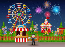 Amusement park landscape at night with fireworks. Illustration of Amusement park landscape at night with fireworks Royalty Free Stock Photos