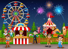 Amusement park landscape at night with fireworks. Illustration of Amusement park landscape at night with fireworks Stock Photos