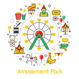 Amusement Park Line Art Thin Icons Set with Ferris Wheel Stock Photo