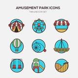 Amusement park line icons flat design. Illustration Stock Photo