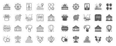 Amusement park line icons. Set of Carousels, Roller coaster and Circus. Vector. Amusement park line icons. Set of Carousel, Roller coaster and Circus icons. Air stock illustration