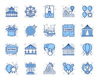 Amusement park line icons. Set of Carousels, Roller coaster and Circus. Vector. Amusement park line icons. Set of Carousel, Roller coaster and Circus icons. Air vector illustration