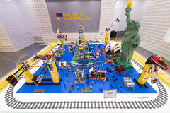 Amusement park made of Lego blocks. SEOUL, SOUTH KOREA - MARCH 29, 2017: An amusement park with moving attractions made of Lego blocks at the HandsOn Campus, a Stock Photography
