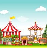 Amusement park with many rides Stock Photo
