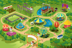 Amusement park map. A vector illustration of a map of an amusement park