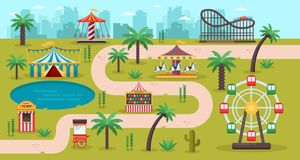 Amusement park map concept. Fun carousels, circus, ferris wheel, fair in family park, vector illustration. Summer landscape background stock illustration