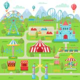 Amusement park map. Family entertainment festival attractions carousel, roller coaster and ferris wheel vector. Amusement park map. Family entertainment festival royalty free illustration