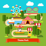 Amusement park map, ferris wheel, roller coaster Royalty Free Stock Images