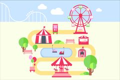 Amusement park map infographic elements, attractions and carousels vector illustration in flat style. Design element for banner or poster vector illustration