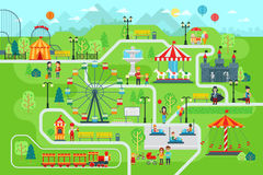 Amusement park map infographic elements in flat vector design. Happy people spend time relaxing in nature. Parents and children are walking in the park vector illustration