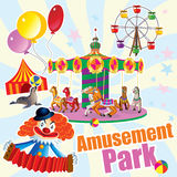 The amusement Park with merry-go-round and a clown Stock Photo