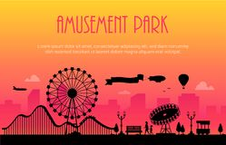 Amusement park - modern vector illustration. With place for text on urban background. Big wheel, attractions, benches, lanterns, trees, people. Hot air balloon stock illustration