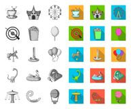 Amusement park mono,flat icons in set collection for design. Equipment and attractions vector symbol stock web. Amusement park mono,flat icons in set collection stock illustration
