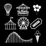 Amusement park mono set Royalty Free Stock Photography