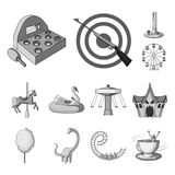 Amusement park monochrome icons in set collection for design. Equipment and attractions vector symbol stock web. Amusement park monochrome icons in set vector illustration