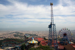 Amusement Park, Mount Tibidabo, Barcelona Spain. View of Tibidabo Amusement Park overlooking Barcelona, Catalonia Spain Stock Image