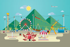 Amusement park with mountain. Vector Illustration of amusement park with mountain background Stock Images