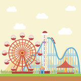 Amusement Park. With mountain view in the background royalty free illustration