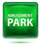 Amusement Park Neon Light Green Square Button. Amusement Park Isolated on Neon Light Green Square Button vector illustration