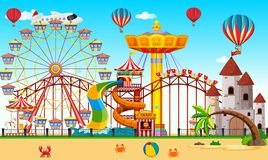 An amusement park next to the beach. Illustration stock illustration