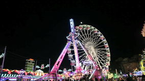Amusement park at night. stock video footage