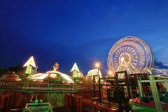 Amusement park at night Stock Photos