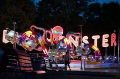Amusement park octopus by night Stock Photography