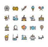Amusement Park Outline Colorful Icon Set. Vector Stock Photos