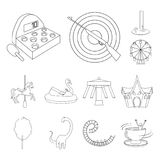 Amusement park outline icons in set collection for design. Equipment and attractions vector symbol stock web. Amusement park outline icons in set collection for stock illustration